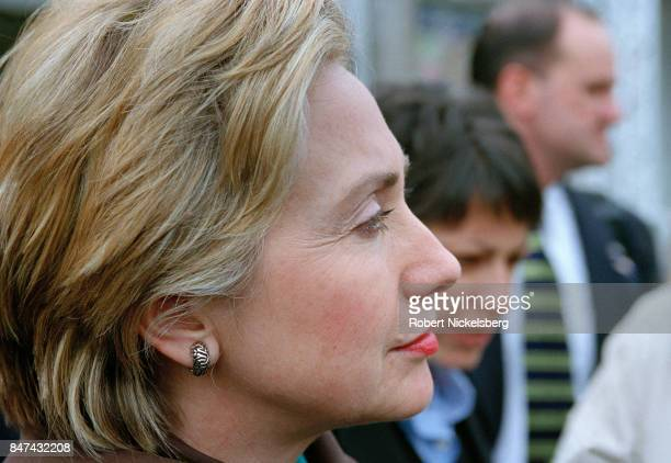 Democratic Party candidate for the US Senate Hillary R Clinton speaks at a local neighborhood campaign rally in Schenectady New York October 30 2000...