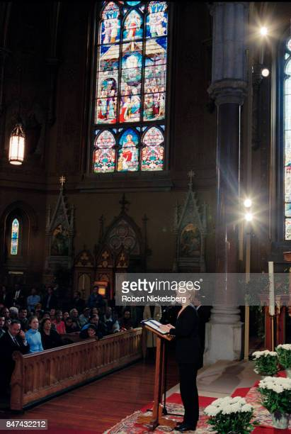 Democratic Party candidate for the US Senate Hillary R Clinton speaks at St Michael's Church in Rochester New York October 29 2000 Clinton won the...