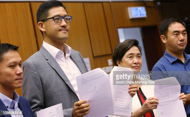 Democratic Party Chairman and Legislator Emily Lau Waihing accompany Lam Cheukting who submits nomination form for Legislative Council election in...