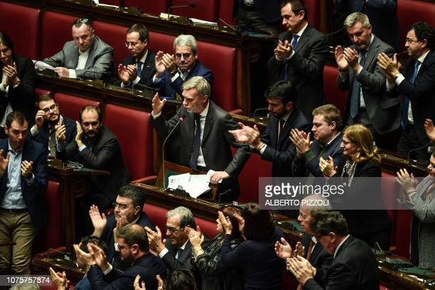 Democratic Party deputy Graziano Delrio speaks during a session for a Parliament vote of confidence on Italy's revised 2019 budget on December 29...