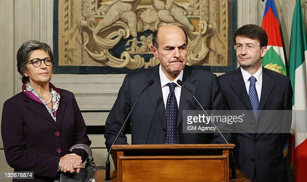 Democratic Party members Anna Finocchiaro Pierluigi Bersani and Dario Franceschini attend a press conference after a meeting with Italian President...