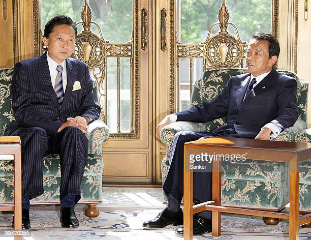 Democratic Party of Japan President and incoming Prime Minister Yukio Hatoyama and outgoing Prime Minister Taro Aso hold a meeting at the Diet...