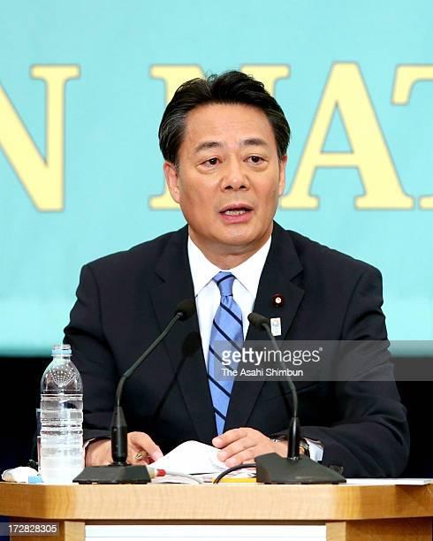 Democratic Party of Japan president Banri Kaieda speaks during the party leaders debate at the Japan National Press Club on July 3 2013 in Tokyo...