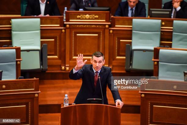 Democratic Party of Kosovo leader and a candidate for Kosovo's parliament speaker Kadri Veseli gestures during a parliamentary session in Pristina on...