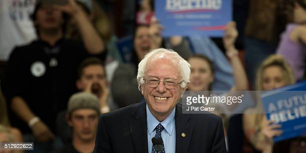 Democratic Party presidential candidate Bernie Sanders speaks during a campaign rally on February 28 2016 in Oklahoma City Oklahoma Sanders spoke on...