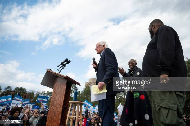Democratic party White House hopeful Bernie Sanders adresses supporters at a rally in Columbia SC on February 28 2020 Sanders is battling moderate...