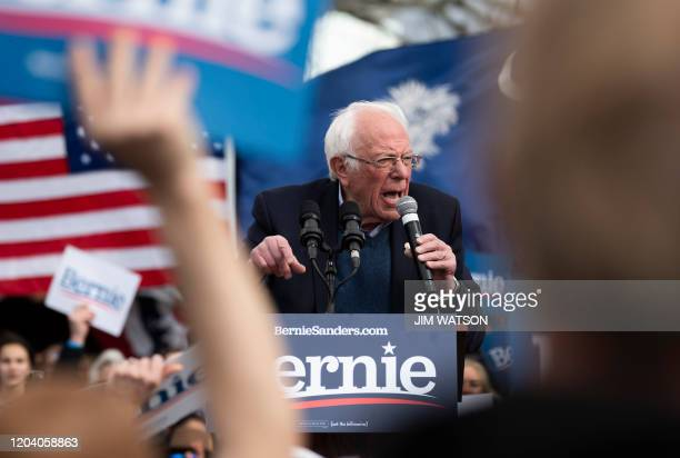 Democratic party White House hopeful Vermont Senator Bernie Sanders adresses supporters at a rally in Columbia South Carolina on February 28 2020...