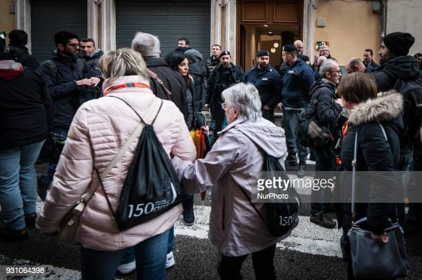 Democratic Party's arrives for a party meeting in Rome Monday March 12 2018 Former Italian Premier Matteo Renzi has formally resigned as leader of...