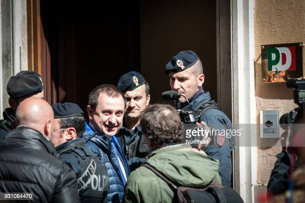 Democratic Party's Ettore Rosato arrives for a party meeting in Rome Monday March 12 2018 Former Italian Premier Matteo Renzi has formally resigned...