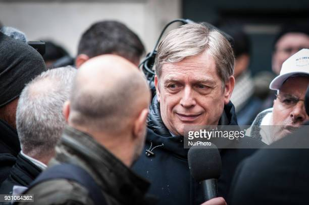 Democratic Party's Gianni Cuperlo arrives for a party meeting in Rome Monday March 12 2018 Former Italian Premier Matteo Renzi has formally resigned...