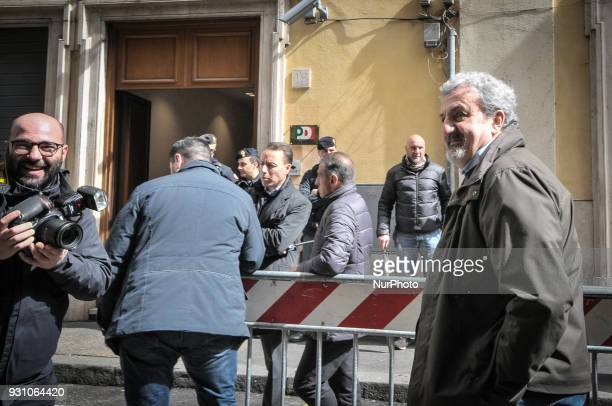 Democratic Party's Michele Emiliano arrives for a party meeting in Rome Monday March 12 2018 Former Italian Premier Matteo Renzi has formally...