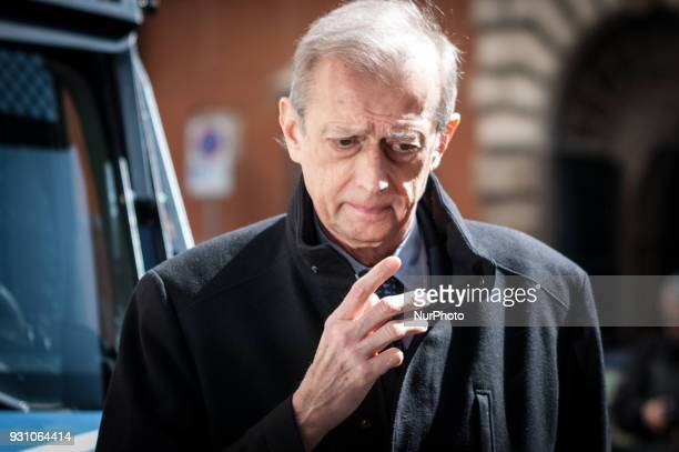 Democratic Party's Piero Fassino arrives for a party meeting in Rome Monday March 12 2018 Former Italian Premier Matteo Renzi has formally resigned...