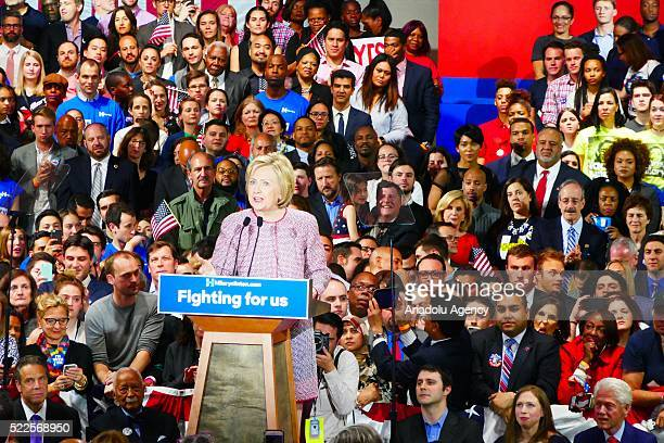 Democratic Party's presidential candidate Hillary Clinton delivers a speech after ensuring victory in preelection of New York NY USA on April 20 2016