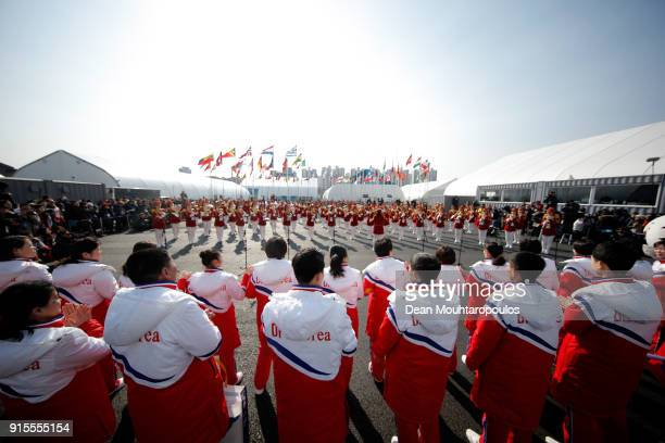 Democratic People's Republic of Korea athletes look on during the welcome ceremony ahead of the PyeongChang 2018 Winter Olympic Games at the Olympic...