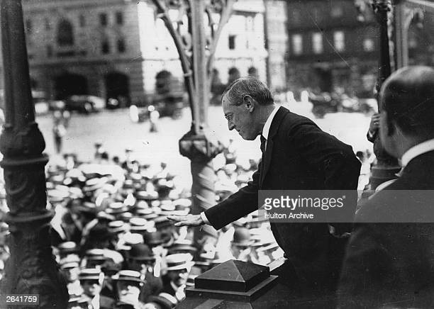 Democratic politician Woodrow Wilson the 28th President of the United States addressing a crowd
