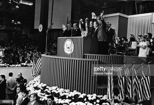 US democratic politicians Thomas Eagleton Hubert Humphrey Shirley Chisholm George McGovern an unidentified man and Edmund Muskie stand with their...