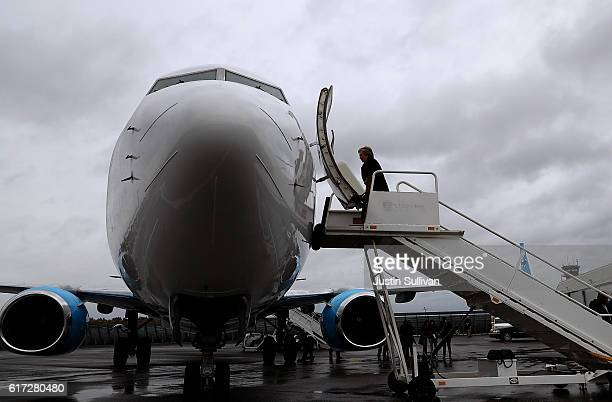 Democratic preisdential nominee former Secretary of State Hillary Clinton boards her campaign plane at Westchester County Airport on October 22, 2016...