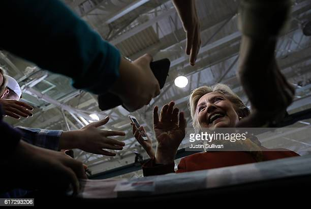 Democratic preisdential nominee former Secretary of State Hillary Clinton greets supporters during a campaign rally at Taylor Allderdice High School...