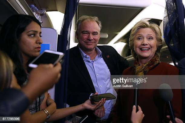 Democratic preisdential nominee former Secretary of State Hillary Clinton and vice presidential nominee US Sen Tim Kaine speak to reporters on the...
