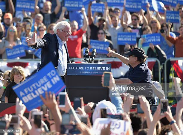 Democratic presedential candidate Bernie Sanders and Danny DeVito attend A Future To Believe In GOTV Rally Concert at Prospect Park on April 17 2016...