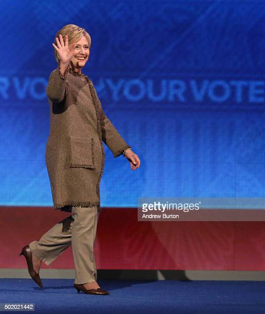 Democratic president candidate Hillary Clinton takes the stage at the democratic debate at Saint Anselm College December 19 2015 in Manchester New...