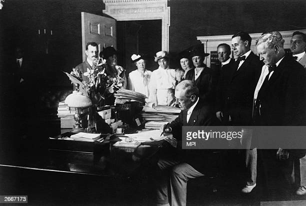 Democratic President Woodrow Wilson signing a bill which outlawed the transportation across state lines of the products of child labour