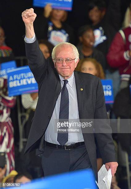 Democratic Presidentail Candidate Sen Bernie Sanders speaks during the Bernie Sanders HBCU Tour and Rally at Atlanta University Center on February 16...