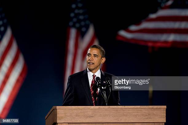 Democratic presidentelect Barack Obama speaks to supporters during an election night rally in Grant Park in Chicago Illinois US on Tuesday Nov 4 2008...