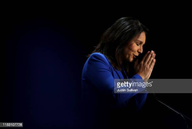 Democratic presidential cadidate US Rep Tulsi Gabbard speaks during the California Democrats 2019 State Convention at the Moscone Center on June 01...