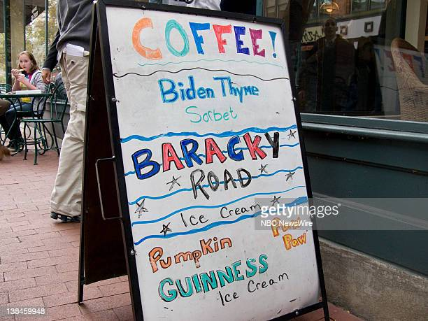"""Democratic Presidential Campaign -- Pictured: A sign outside Ellen's Homemade Ice Cream that says """"Biden Thyme"""" and Baracky Road"""" in Charleston, WV..."""