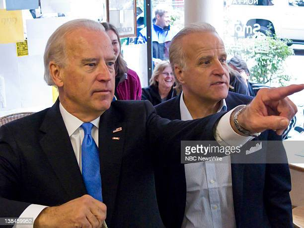 Democratic Presidential Campaign -- Pictured: Senator and Vice Presidential nominee Joe Biden and brother Jim Biden choose their flavor at Ellen's...