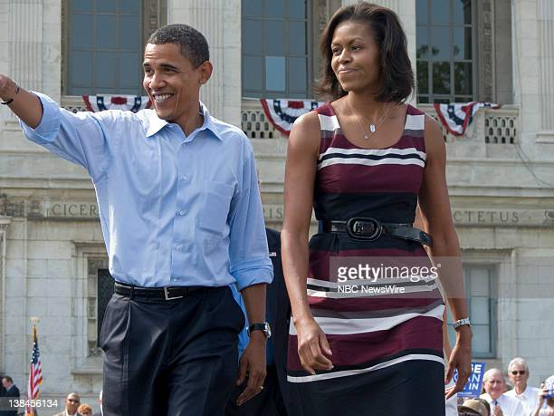 NBC NEWS Democratic Presidential Campaign Pictured Senator Barack Obama and wife Michelle Obama in Detroit MI on September 28 2008