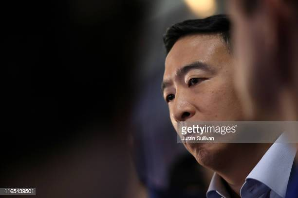 Democratic presidential candidat former tech executive Andrew Yang speaks to the media in the spin room after the Democratic Presidential Debate at...