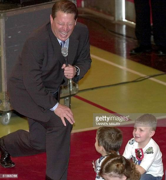 Democratic presidential candidate Al Gore laughs after a schoolchild at Forks River School in Elmwood Tennessee said it is important to vote for...