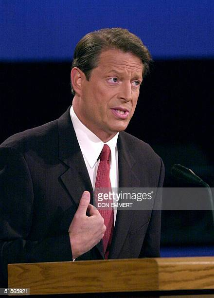 Democratic presidential candidate Al Gore speaks during his debate against Republican opponent George W Bush 03 October debate at the University of...
