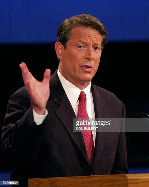 Democratic presidential candidate Al Gore speaks during his debate against Republican opponent George W Bush 03 October at the University of...