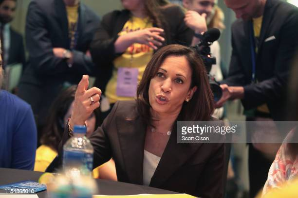 Democratic presidential candidate and California senator Kamala Harris speaks to supporters at the Iowa Democratic Party's Hall of Fame Dinner on...