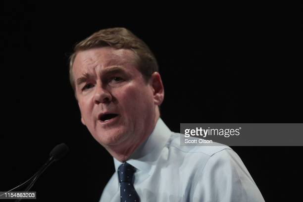 Democratic presidential candidate and Colorado Senator Michael Bennet speaks at the Iowa Democratic Party's Hall of Fame Dinner on June 9 2019 in...