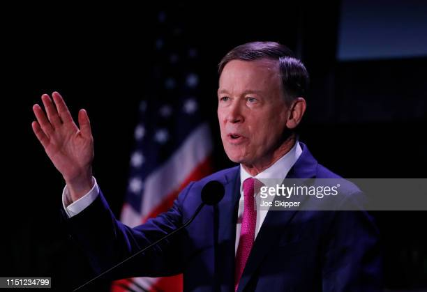 Democratic presidential candidate and former Colorado Gov John Hickenlooper speaks at the Democratic presidential candidates NALEO Candidate Forum on...