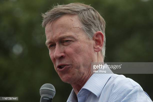 Democratic presidential candidate and former Governor of Colorado John Hickenlooper delivers a campaign speech at the Des Moines Register Political...