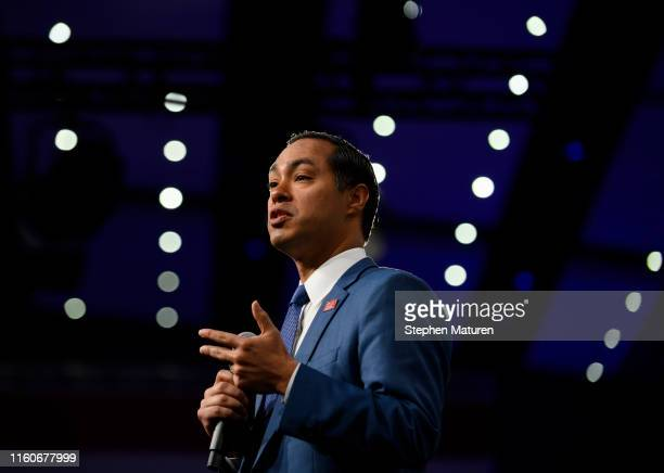 Democratic presidential candidate and former Housing and Urban Development Secretary Julian Castro speaks on stage during a forum on gun safety at...