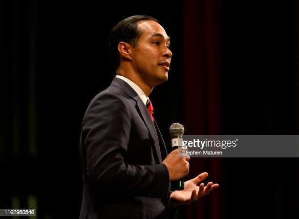 Democratic presidential candidate and former Housing and Urban Development Secretary Julian Castro speaks at the Frank LaMere Native American...