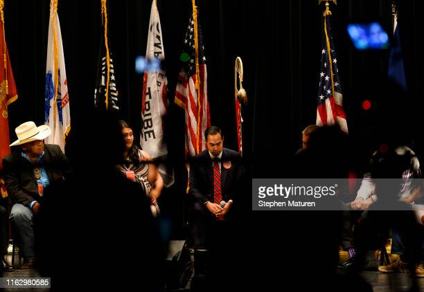 Democratic presidential candidate and former Housing and Urban Development Secretary Julian Castro listens to a question at the Frank LaMere Native...
