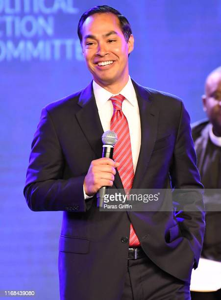 Democratic presidential candidate and former Housing and Urban Development Secretary Julian Castro speaks on stage during Young Leaders Conference...