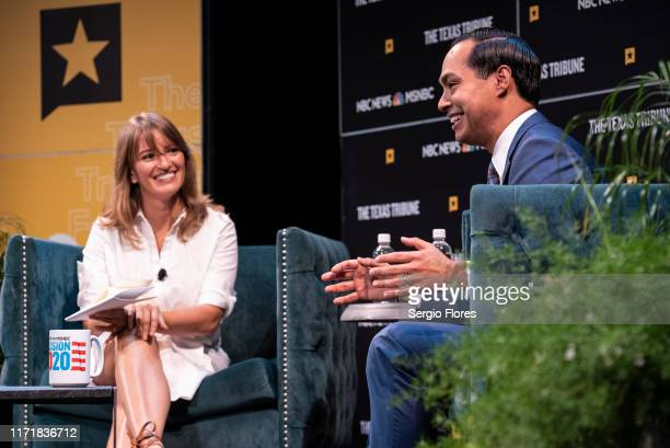 Democratic presidential candidate and former HUD Secretary Julian Castro answers a question from MSNBC's Katy Tur onstage during a panel at The Texas...