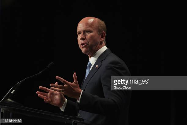Democratic presidential candidate and former Maryland congressman John Delaney speaks at the Iowa Democratic Party's Hall of Fame Dinner on June 9,...