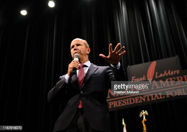Democratic presidential candidate and former Maryland congressman John Delaney speaks at the Frank LaMere Native American Presidential Forum on...