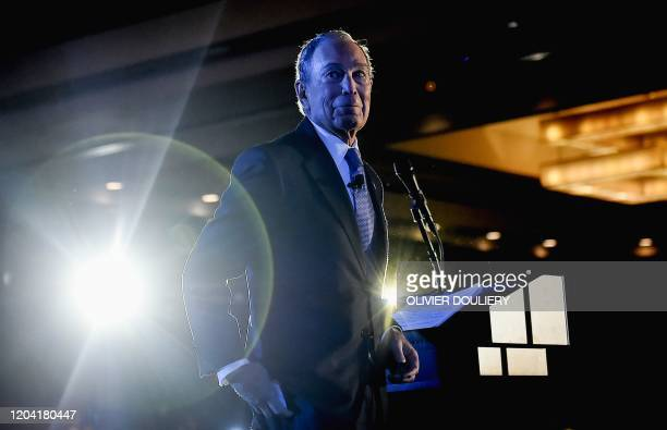 TOPSHOT Democratic presidential candidate and former New York City mayor Mike Bloomberg speaks during a rally at the Hilton hotel on February 29 2020...