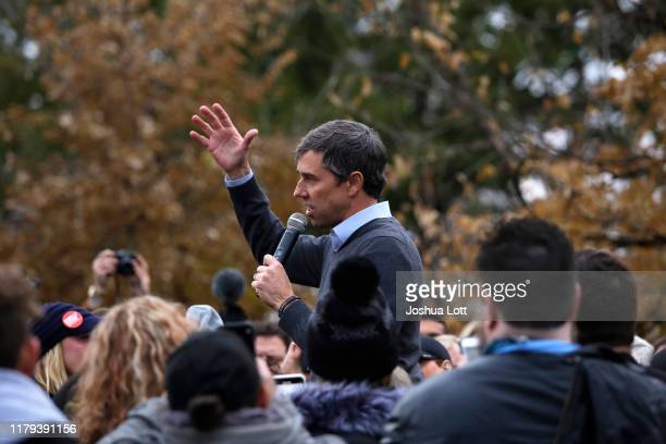 Democratic presidential candidate and former Rep. Beto O'Rourke speaks to his supporters after announcing he was dropping out of the presidential...