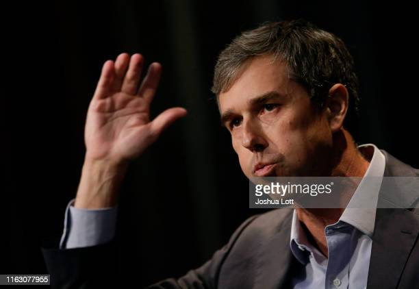 Democratic presidential candidate and former Rep for Texas Beto O'Rourke speaks at the Iowa Federation Labor Convention on August 21 2019 in Altoona...